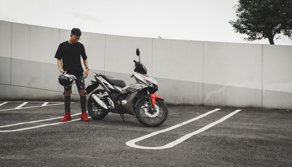 An empty parking lot is a perfect place to learn how to ride a motorcycle