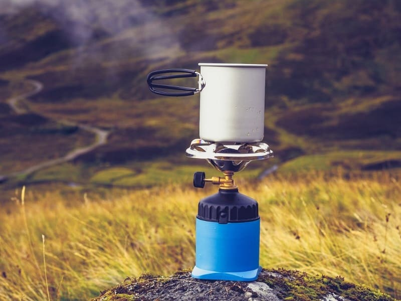 Butane stoves are very popular for camping with a bike