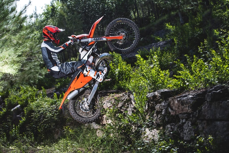 Tall dirt bikes are easier to control than adventure bikes due to their light weight