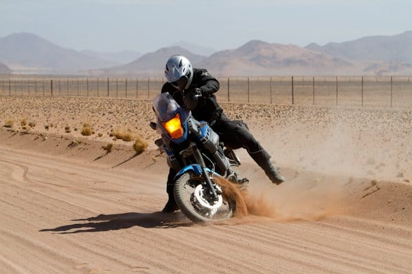 Riding an adventure bike on sandy roads can be daunting at first