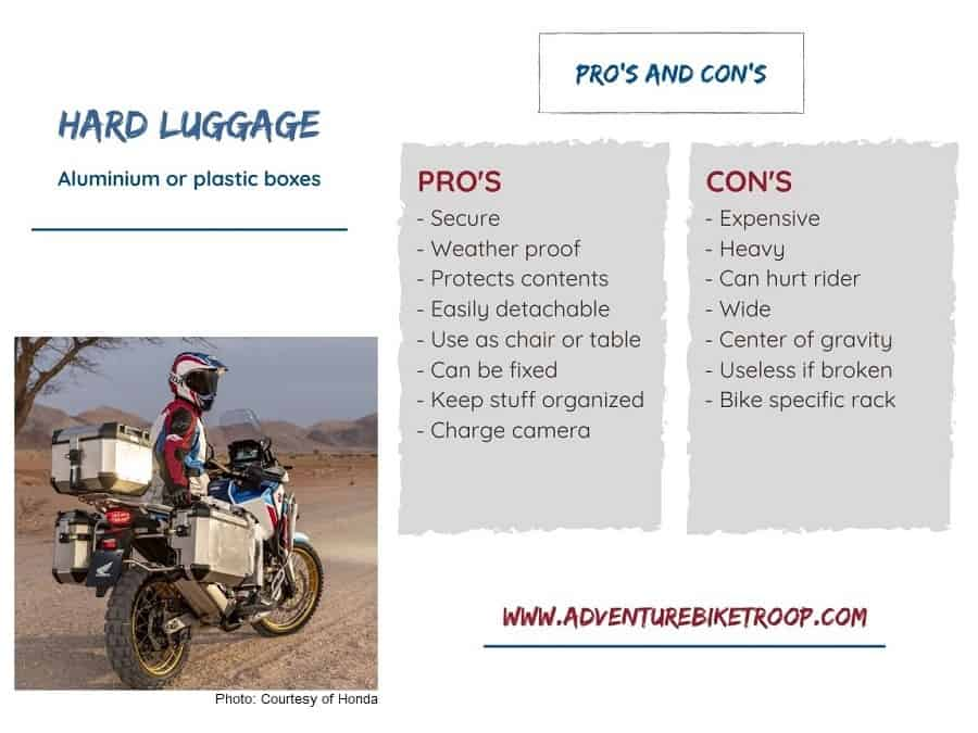 Hard luggage for dual sport bike: Advantages and Disadvantages