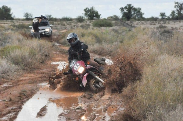 Crashing a dual sport bike in mud